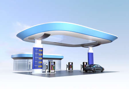 Contemporary EV charging station and gas station design for new energy supply concpet. 3D rendering image. Banco de Imagens