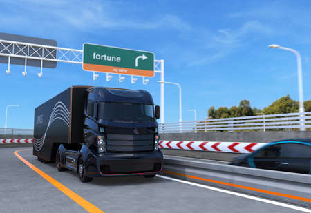truck on highway: Self driving hybrid truck on highway. 3D rendering image.