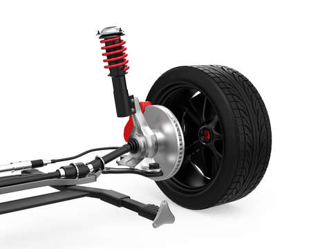damper: Car suspension isolated on white background. 3D rendering image.