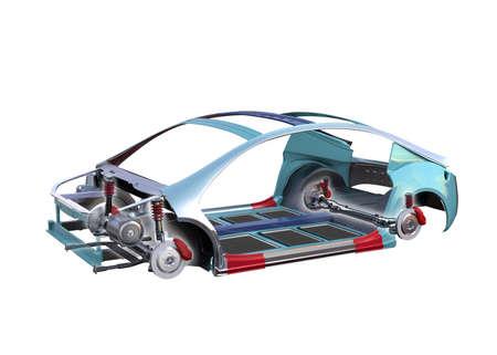 Elektrische auto lichaam kader op een witte achtergrond. 3D-rendering afbeelding.