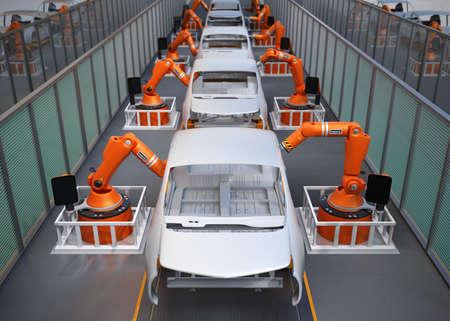전기 자동차 차체 조립 라인. 3D 이미지를 렌더링.