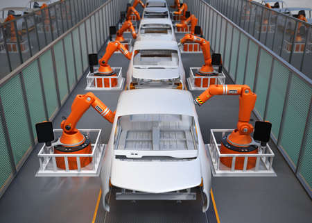 Elektrofahrzeuge Körper Fließband. 3D-Rendering-Bild.
