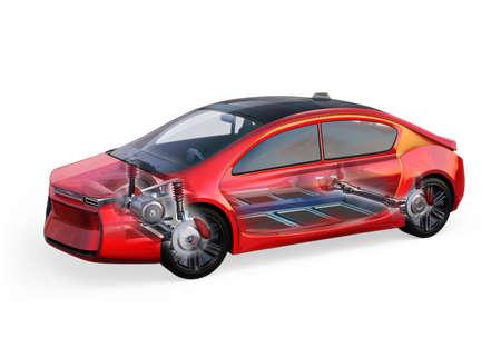 Elektrische auto lichaam en frame geïsoleerd op een witte achtergrond. 3D-rendering afbeelding.