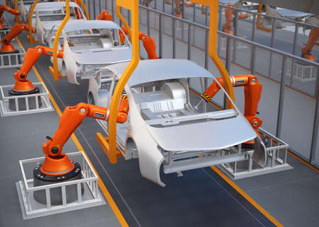 car factory: Electric vehicles body assembly line. 3D rendering image.