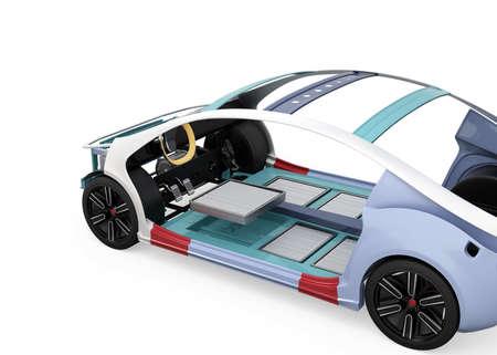 白い背景に分離された電気自動車ボディ フレームとバッテリー パッケージ3 D レンダリング イメージ。