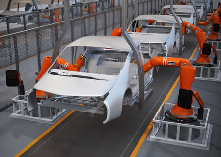 assembly line: Electric vehicles body assembly line. 3D rendering image.