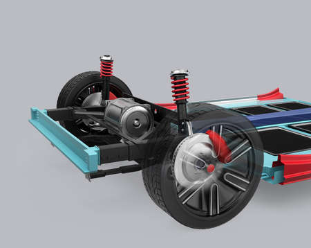 automotive industry: Car suspension and underframe isolated on gray background. 3D rendering image.