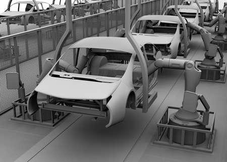 asamblea: imagen Cortina de la arcilla de la línea de montaje eléctrico de vehículos. Representación 3D de la imagen. Foto de archivo