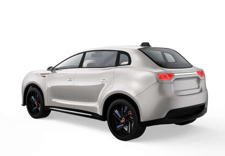 zero emission: Rear view of metallic light gray electric SUV concept car. 3D rendering image with clipping path.