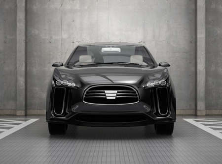 zero emission: Front view of black electric SUV in parking garage. 3D rendering image.