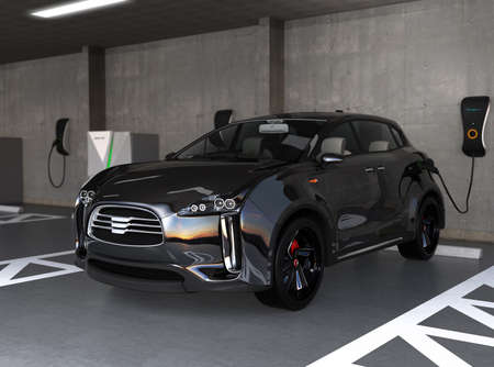 Black electric SUV recharging in parking garage. 3D rendering image. original design.