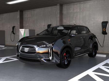 zero emission: Black electric SUV recharging in parking garage. 3D rendering image. original design.