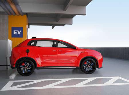 zero emission: Red electric SUV recharging in parking garage. 3D rendering image. original design.