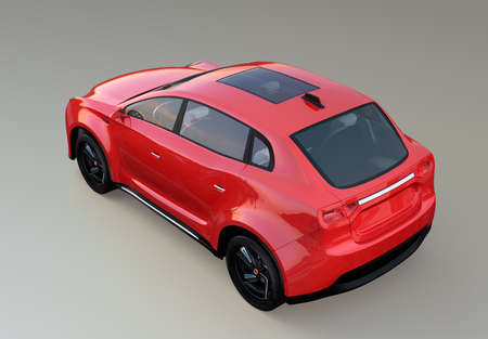 Rear view of red electric SUV concept car isolated on gray background. 3D rendering image with clipping path.