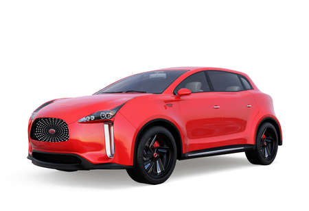 zero emission: Red electric SUV concept car isolated on white background. 3D rendering image with clipping path. Stock Photo