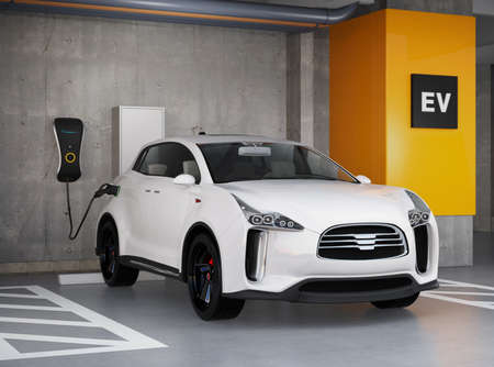 electric automobile: White electric SUV recharging in parking garage. 3D rendering image. original design.
