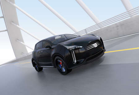 city road: Black electric SUV driving on arc bridge. 3D rendering image.
