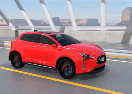 Red electric SUV driving on arc bridge. 3D rendering image.
