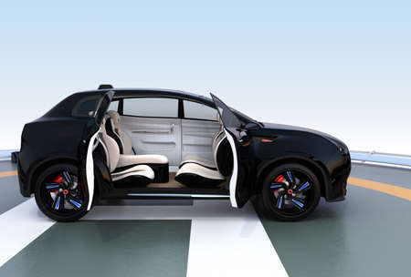 open car door: Black electric SUV parking on the helipad. The doors opened and front seats rotated to backward. Concept for autonomous vehicle. 3D rendering image. Stock Photo
