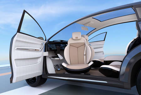 zero emission: Self-driving SUV interior concept. Front seats can rotate in any angle, for easy entry function. 3D rendering image.