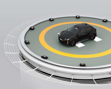 Black electric SUV parking on the helipad on building. 3D rendering image. Reklamní fotografie