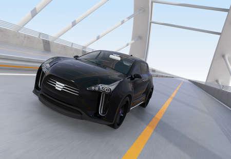 zero emission: Black electric SUV driving on arc bridge. 3D rendering image.