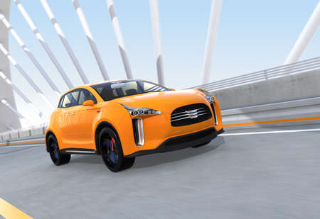 Yellow electric SUV driving on arc bridge. 3D rendering image.