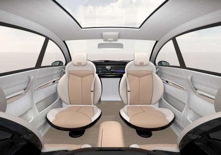 robo: Self-driving SUV interior concept. 3D rendering image.
