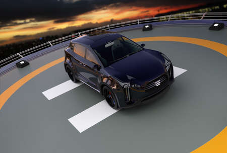 zero emission: Black electric SUV parking on the helipad. 3D rendering image.