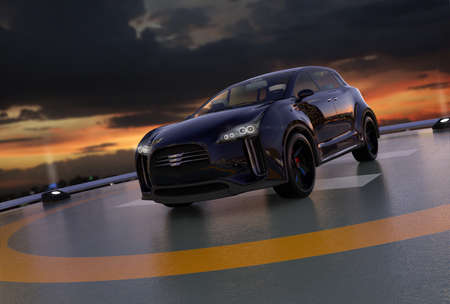 Black electric SUV parking on the helipad. 3D rendering image.