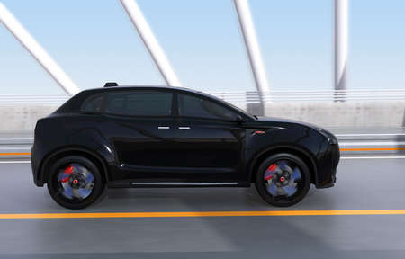 off highway: Side view of black electric SUV driving on arc bridge. 3D rendering image. Stock Photo