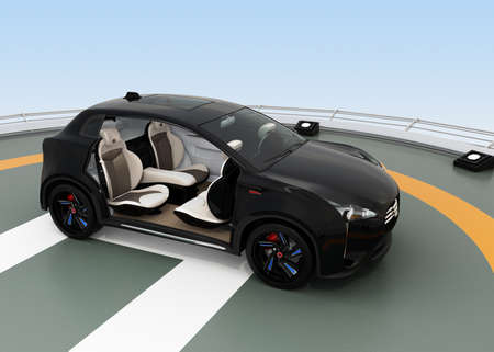 zero emission: Black electric SUV parking on the helipad. The doors opened and front seats rotated to backward. Concept for autonomous vehicle. 3D rendering image. Stock Photo