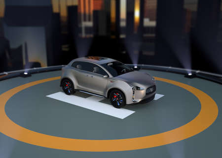 zero emission: Electric SUV parking on the helipad. 3D rendering image. Stock Photo