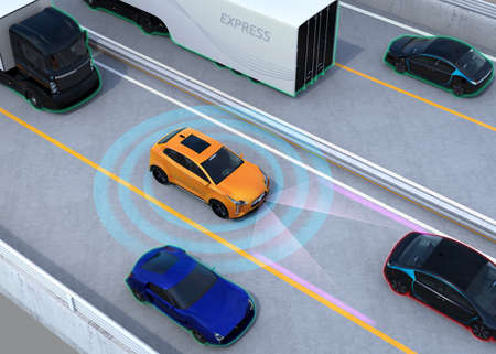 Concept illustration for auto braking, lane keeping functions. 3D rendering image.