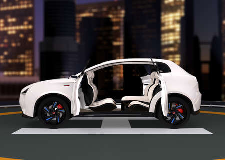 stage door: Electric SUV parking on the helipad. The doors opened and front seats rotated to backward. Concept for autonomous vehicle. 3D rendering image.