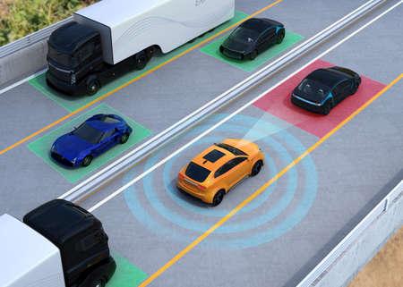 Ilustración del concepto de frenado automático, funciones de mantenimiento de carril. Representación 3D de la imagen. Foto de archivo