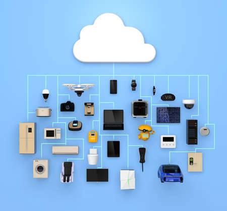 solar home: Internet of Things concept for consumer products. 3D rendering image. Stock Photo