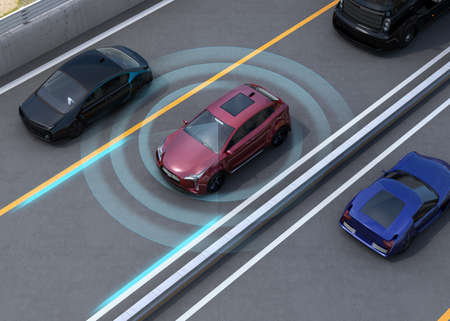 highways: Concept illustration for auto braking, lane keeping functions. 3D rendering image.