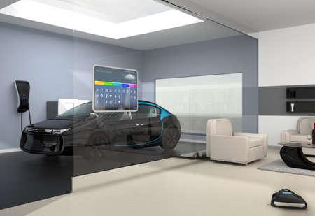 유리 벽에 홈 자동화 제어 패널. 거실의 유리 벽에서 차고에서 검은 전기 자동차 주차장을 볼 수 있었다. 3D 이미지를 렌더링.
