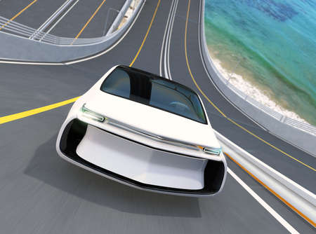 zero emission: Front view of white electric car driving on loop bridge. 3D rendering image.