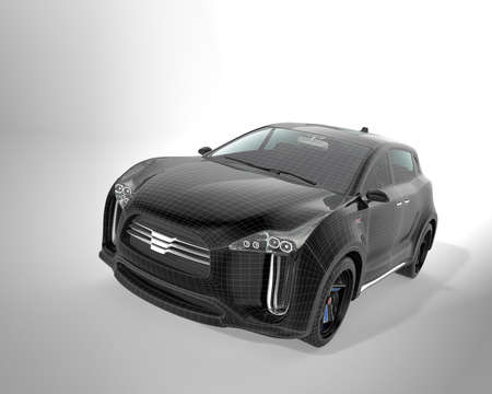 zero emission: Black SUV with wireframe isolated on gray background. 3D rendering image with clipping path.