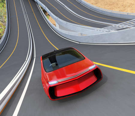 zero emission: Front view of red electric car driving on loop bridge. 3D rendering image. Stock Photo