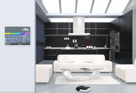 Home automation control panel on the kitchen wall. 3D rendering image.
