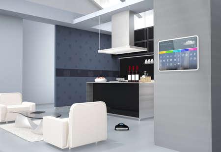 부엌 벽에 홈 자동화 제어 패널. 3D 이미지를 렌더링.