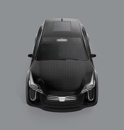 zero emission: Front view of black SUV with wireframe isolated on gray background. 3D rendering image with clipping path. Stock Photo