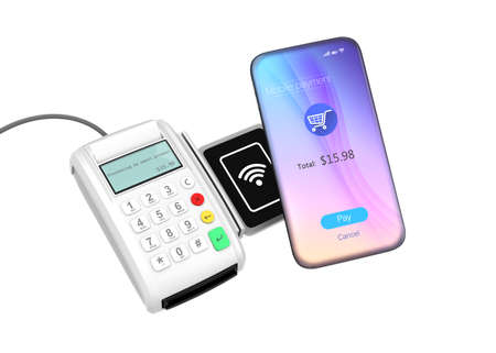 retailers: Smart phone and credit card reader with nfc scanner isolated on white background. 3D rendering image with clipping path. Stock Photo