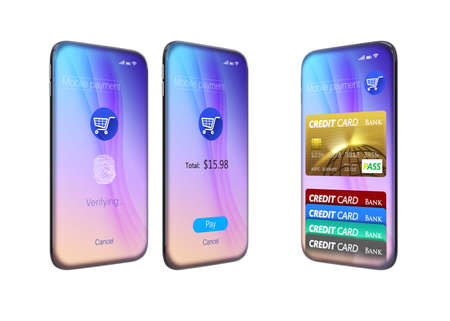 edge design: Round edge full display smart phone with NFC interface. 3D rendering image. Original design.