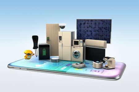 aparatos inteligentes en un teléfono inteligente. Concepto para la automatización del hogar. Representación 3D de la imagen.