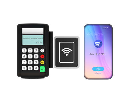 cardreader: Smart phone and credit card reader with nfc scanner isolated on white background. 3D rendering image with clipping path. Stock Photo