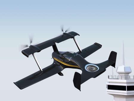 Autonomous flying drone taxi concept. 3D rendering image Stock Photo